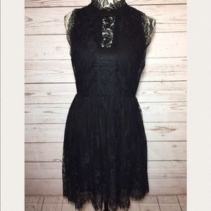 Romeo + Juliet Black Lace Fit-Flare Dress Size M/L